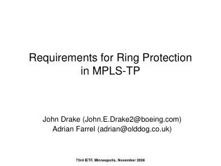 Requirements for Ring Protection in MPLS-TP