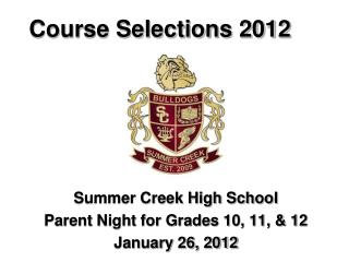 Course Selections 2012
