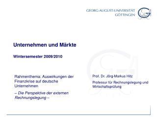 Unternehmen und M rkte  Wintersemester 2009