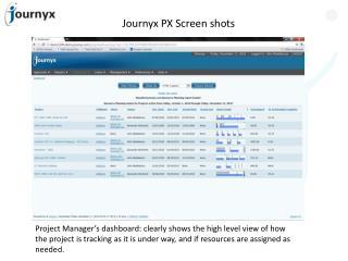 Journyx PX Screen shots
