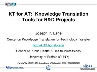 KT for AT:  Knowledge Translation Tools for R&D Projects