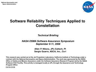 Software Reliability Techniques Applied to Constellation