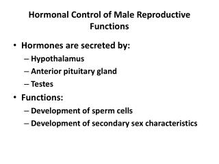 Hormonal Control of Male Reproductive Functions