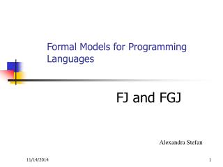 Formal Models for Programming Languages