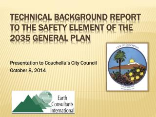 Technical Background Report to the Safety Element of the  2035 General Plan
