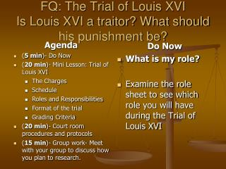 FQ: The Trial of Louis XVI Is Louis XVI a traitor? What should his punishment be?
