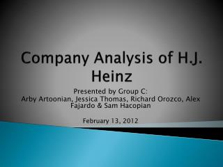 Company Analysis of H.J. Heinz