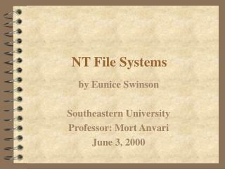 NT File Systems