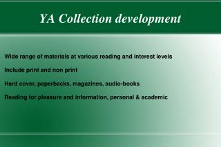 YA Collection development