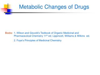 Metabolic Changes of Drugs