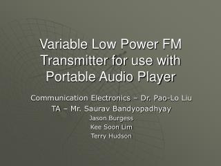 variable low power fm transmitter for use with portable audio player
