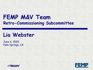 M&V Team Retro-commissioning subcommittee