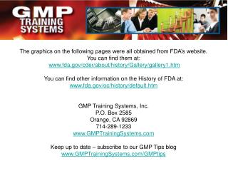The graphics on the following pages were all obtained from FDA's website. You can find them at: