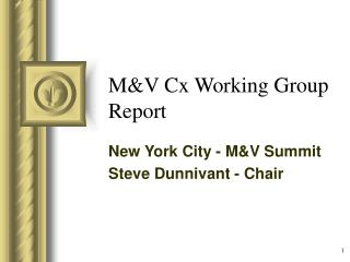 M&V Cx Working Group Report