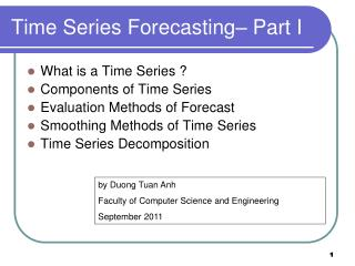 Time Series Forecasting– Part I