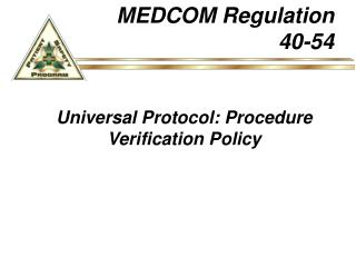 Universal Protocol: Procedure Verification Policy
