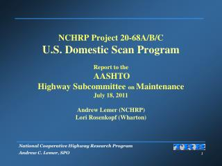 NCHRP 20-68: Motivation � Interactions and Exchange