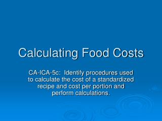 Calculating Food Costs