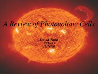 A Review of Photovoltaic Cells