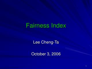 Fairness Index