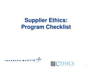 Supplier Ethics: Program Checklist