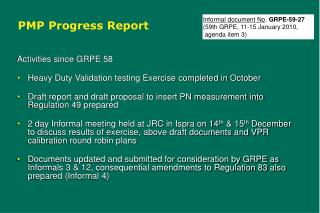 PMP Progress Report