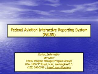 Federal Aviation Interactive Reporting System FAIRS