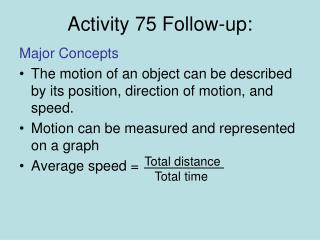 Activity 75 Follow-up: