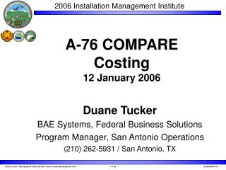 A-76 COMPARE  Costing 12 January 2006