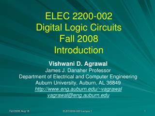 ELEC 2200-002 Digital Logic Circuits Fall 2008 Introduction