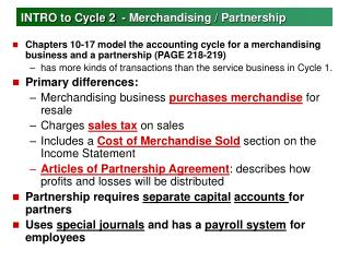 INTRO to Cycle 2  - Merchandising / Partnership
