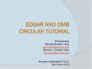 EDGAR and OMB Circular Tutorial