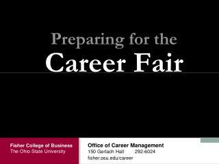 Preparing for the Career Fair