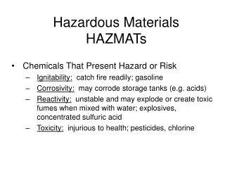 Hazardous Materials HAZMATs