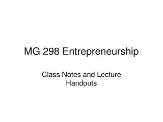 MG 298 Entrepreneurship