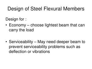 Design of Steel Flexural Members
