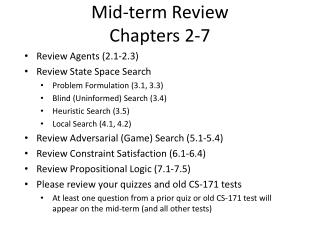 Mid-term Review Chapters 2-7