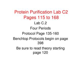 Protein Purification Lab C2 Pages 115 to 168