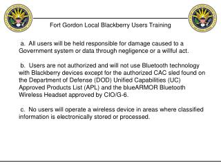 Fort Gordon Local Blackberry Users Training