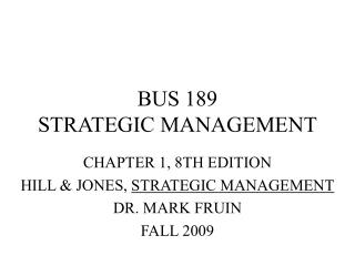 BUS 189 STRATEGIC MANAGEMENT