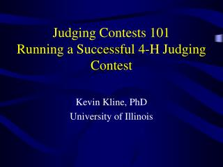 Judging Contests 101 Running a Successful 4-H Judging Contest