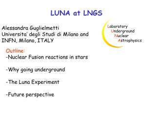 LUNA at LNGS