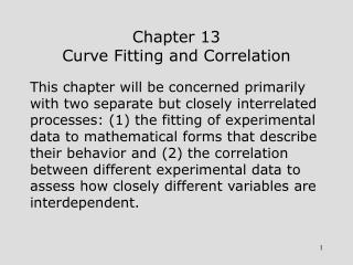 Chapter 13 Curve Fitting and Correlation