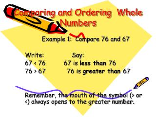 Comparing and Ordering  Whole Numbers