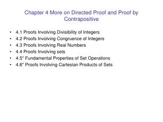 Chapter 4 More on Directed Proof and Proof by Contrapositive