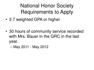 National Honor Society Requirements to Apply