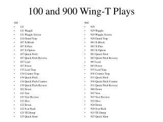 100 and 900 Wing-T Plays