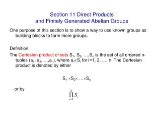 Section 11 Direct Products  and Finitely Generated Abelian Groups
