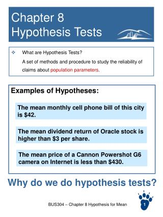 Chapter 8  Hypothesis Tests