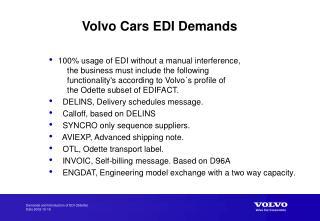 Volvo Cars EDI Demands